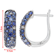 Load image into Gallery viewer, 9ct White Gold Diamond and Sparkling Shades of Blue Sapphire Hoop Earrings