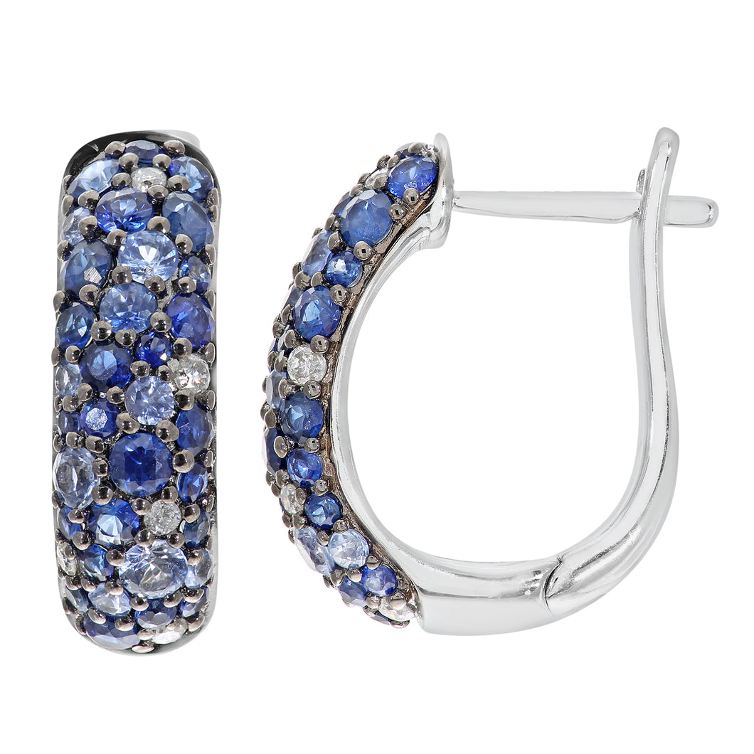 9ct White Gold Diamond and Sparkling Shades of Blue Sapphire Hoop Earrings