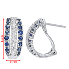 Load image into Gallery viewer, 9ct White Gold Multi Row Diamond and Sapphire Hoop Earrings