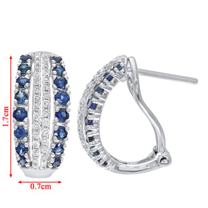 9ct White Gold Multi Row Diamond and Sapphire Hoop Earrings