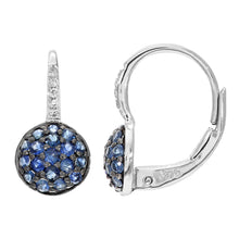 Load image into Gallery viewer, 9ct White Gold Diamond and 0.50ct Sapphire Round Hoop Earrings