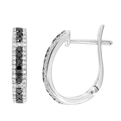9ct White Gold 0.47ct Black and White Diamond Hoop Earrings