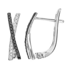 Load image into Gallery viewer, 9ct White Gold 0.26ct Black and White Diamond Kiss Hoop Earrings