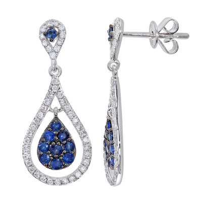 18ct White Gold Teardrop 0.47ct Sapphire and 0.33ct Diamond Dangle Drop Earrings