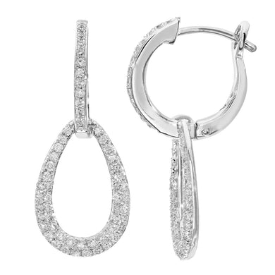 18ct White Gold Hoop and Teardrop Loop 0.50ct Diamond Earrings