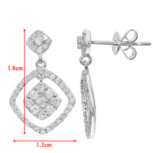 Load image into Gallery viewer, 18ct White Gold 0.65ct Diamond Square Dangle Drop Earrings
