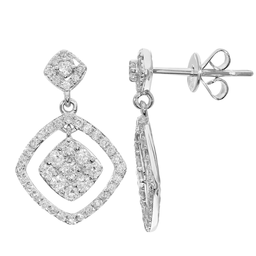 18ct White Gold 0.65ct Diamond Square Dangle Drop Earrings