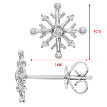 Load image into Gallery viewer, 9ct White Gold Snowflake Design Stud Earrings