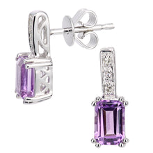Load image into Gallery viewer, 9ct White Gold Diamond and Amethyst Gemstone Rectangle Cut Drop Earrings
