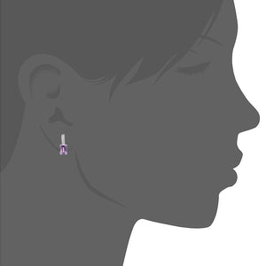 9ct White Gold Diamond and Amethyst Gemstone Rectangle Cut Drop Earrings