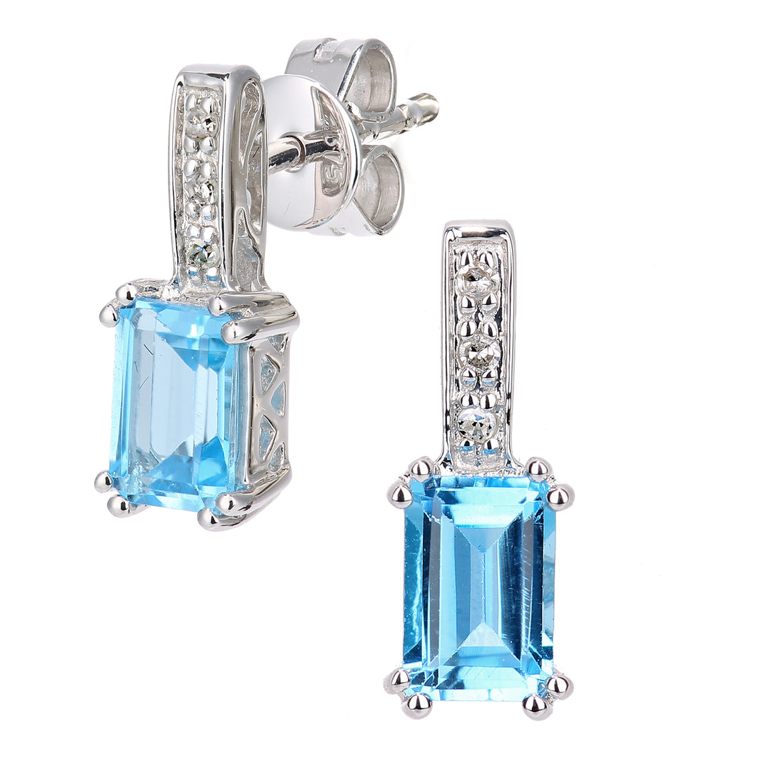 9ct White Gold Diamond and Blue Topaz Gemstone Rectangle Cut Drop Earrings