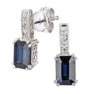 9ct White Gold Diamond and Black Sapphire Gemstone Rectangle Cut Drop Earrings