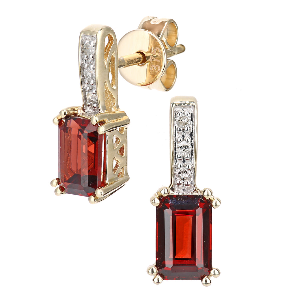 9ct Yellow Gold Diamond and Garnet Gemstone Rectangle Cut Drop Earrings