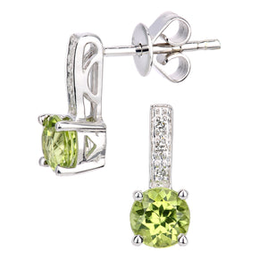 9ct White Gold Diamond and Peridot Gemstone Round Cut Drop Earrings