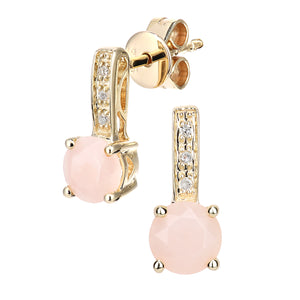 9ct Yellow Gold Diamond and Pink Opal Gemstone Round Cut Drop Earrings