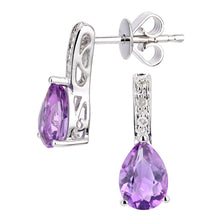 Load image into Gallery viewer, 9ct White Gold Diamond and Amethyst Gemstone Teardrop Cut Drop Earrings
