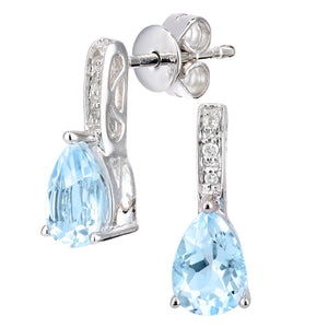 9ct White Gold Diamond and Blue Topaz Gemstone Teardrop Cut Drop Earrings