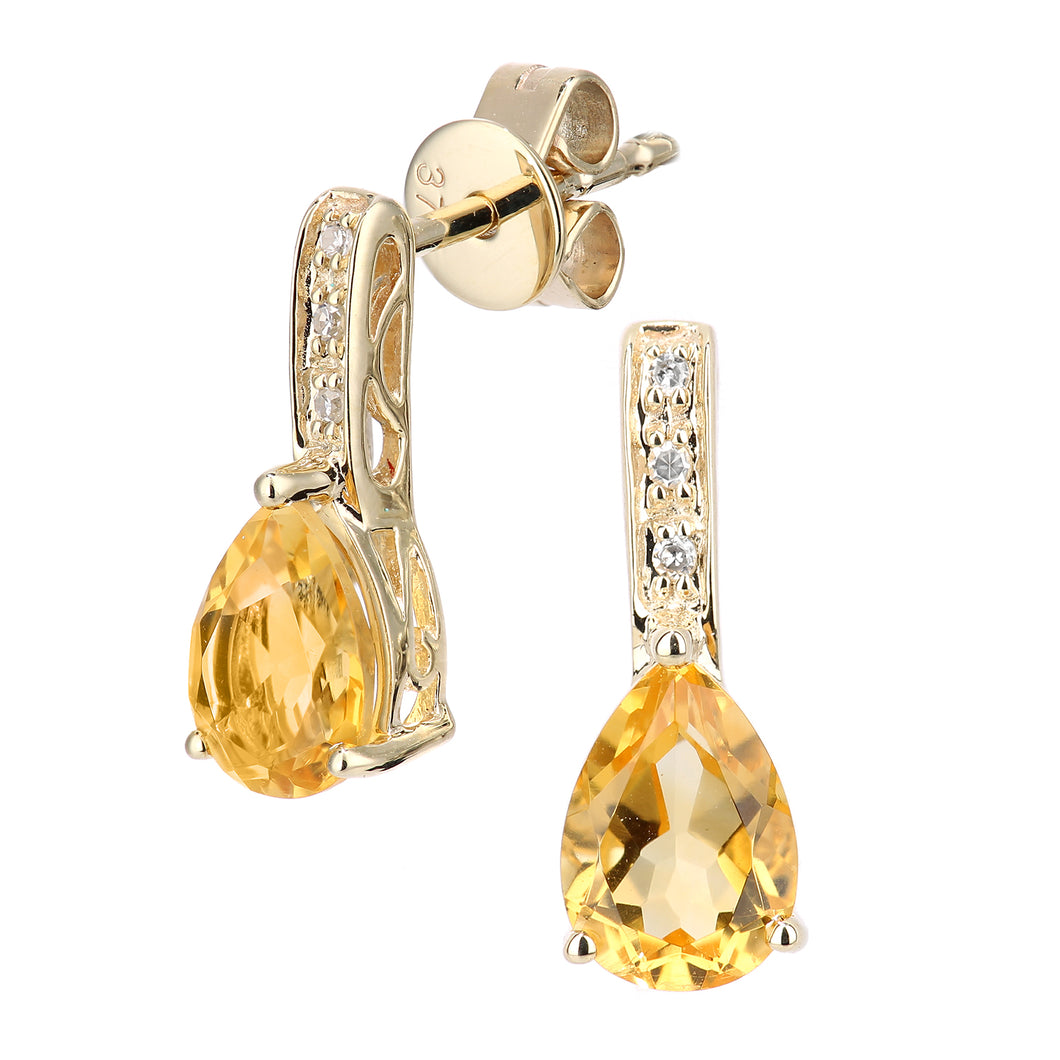9ct Yellow Gold Diamond and Citrine Gemstone Teardrop Cut Drop Earrings
