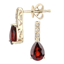Load image into Gallery viewer, 9ct Yellow Gold Diamond and Garnet Gemstone Teardrop Cut Drop Earrings