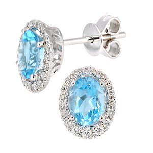 9ct White Gold Diamond and Swiss Blue Topaz Gemstone Oval Cut Stud Earrings