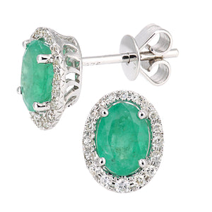 9ct White Gold Diamond and Emerald Gemstone Oval Cut Stud Earrings