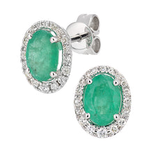 Load image into Gallery viewer, 9ct White Gold Diamond and Emerald Gemstone Oval Cut Stud Earrings