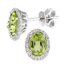 Load image into Gallery viewer, 9ct White Gold Diamond and Peridot Gemstone Oval Cut Stud Earrings