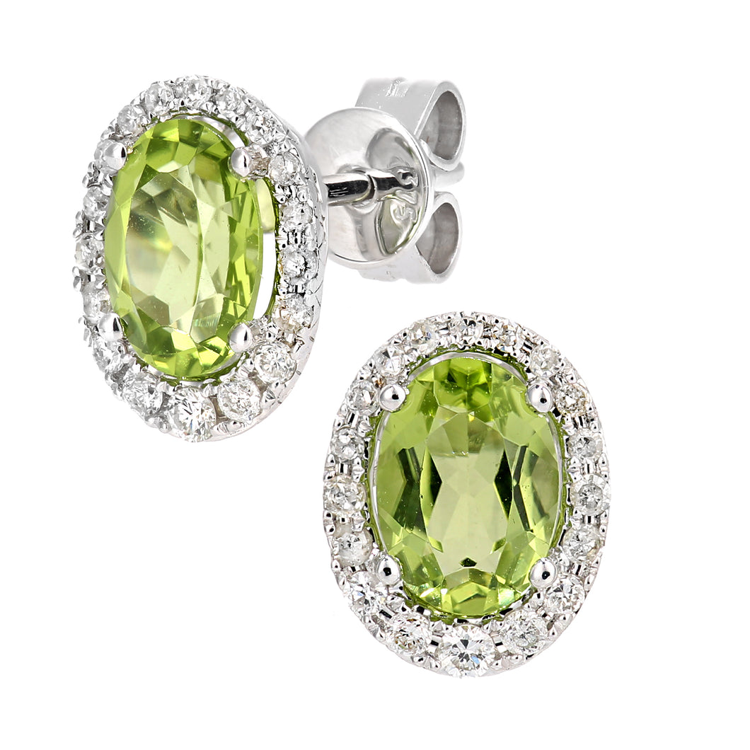 9ct White Gold Diamond and Peridot Gemstone Oval Cut Stud Earrings