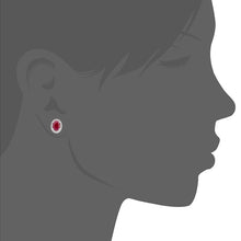 Load image into Gallery viewer, 9ct White Gold Diamond and Ruby Gemstone Oval Cut Stud Earrings