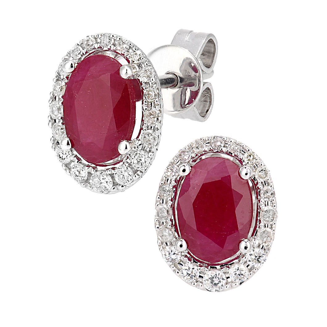 9ct White Gold Diamond and Ruby Gemstone Oval Cut Stud Earrings