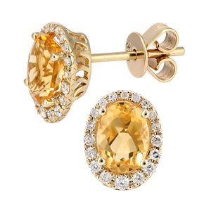 9ct Yellow Gold Diamond and Citrine Gemstone Oval Cut Stud Earrings