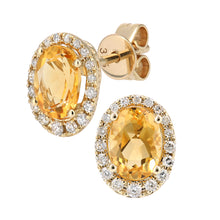 Load image into Gallery viewer, 9ct Yellow Gold Diamond and Citrine Gemstone Oval Cut Stud Earrings