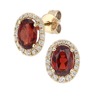 9ct Yellow Gold Diamond and Garnet Gemstone Oval Cut Stud Earrings