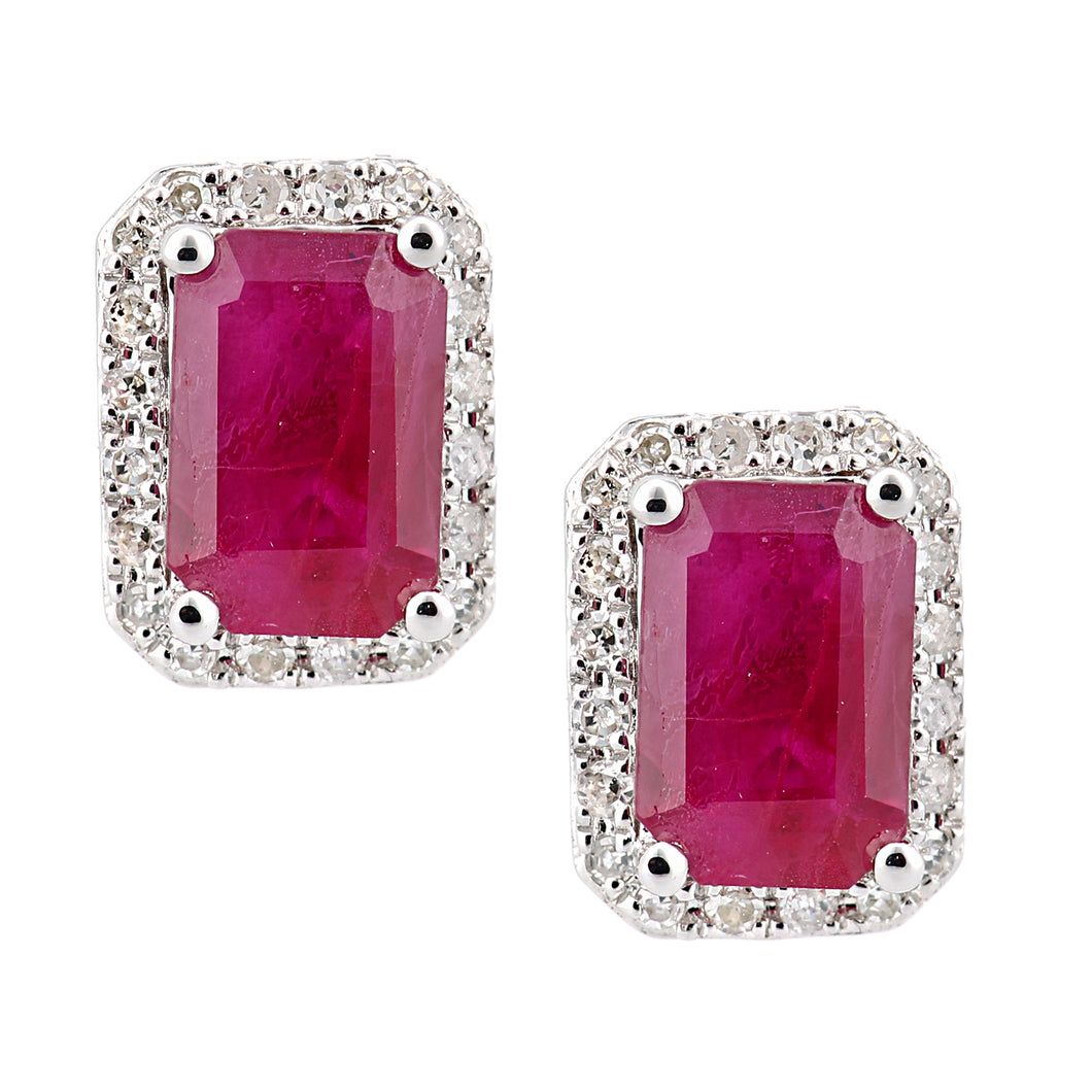 18ct White Gold Ruby and Diamond Square Stud Earrings
