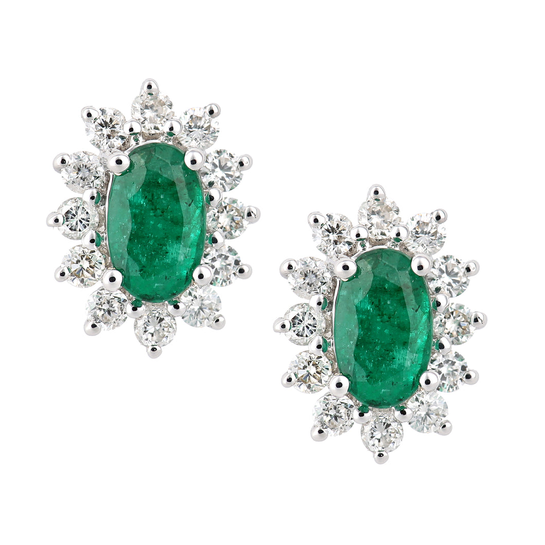 18ct White Gold Emerald and Diamond Oval Cluster Stud Earrings