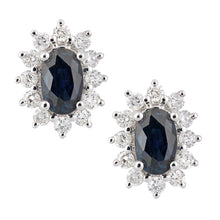 Load image into Gallery viewer, 18ct White Gold Sapphire and Diamond Oval Cluster Stud Earrings