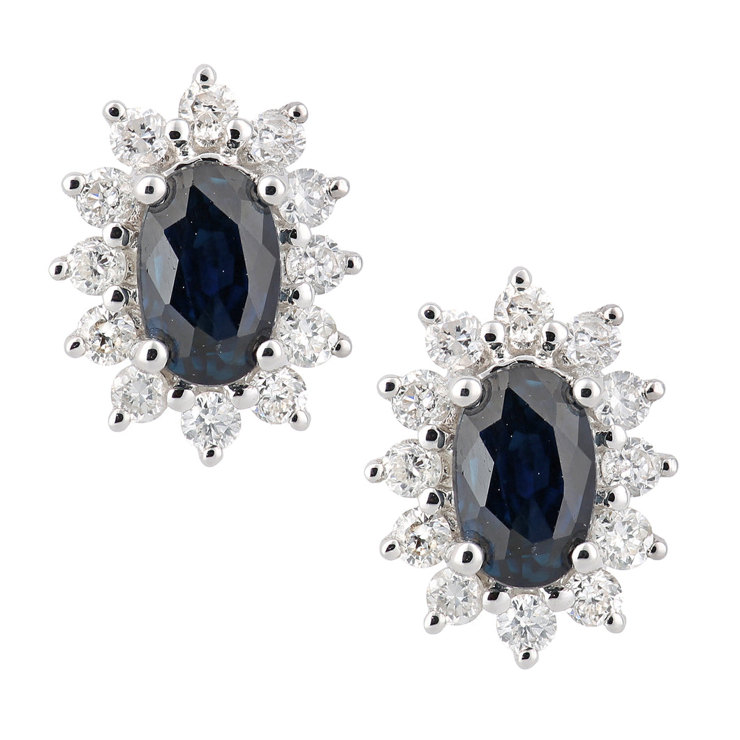 18ct White Gold Sapphire and Diamond Oval Cluster Stud Earrings