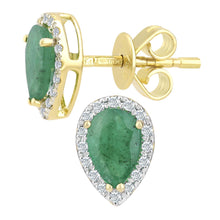 Load image into Gallery viewer, 18ct Yellow Gold Emerald and Diamond Teardrop Stud Earrings