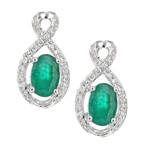 18ct White Gold Emerald and Diamond Fig 8 Stud Earrings
