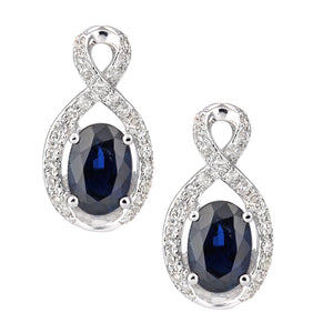 18ct White Gold Sapphire and Diamond Fig 8 Stud Earrings