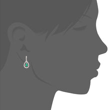 Load image into Gallery viewer, 18ct White Gold Emerald and Diamond Teardrop Drop Earrings