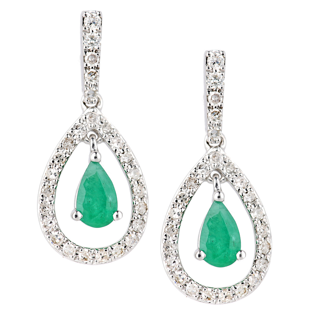 18ct White Gold Emerald and Diamond Teardrop Drop Earrings