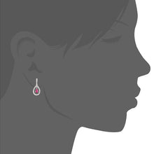 Load image into Gallery viewer, 18ct White Gold Ruby and Diamond Teardrop Drop Earrings
