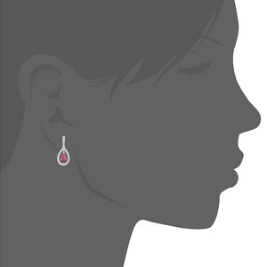 18ct White Gold Ruby and Diamond Teardrop Drop Earrings