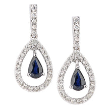 Load image into Gallery viewer, 18ct White Gold Sapphire and Diamond Teardrop Drop Earrings