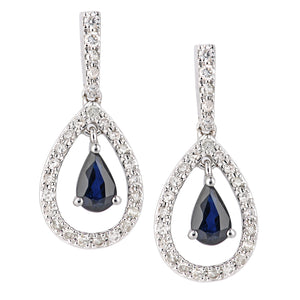 18ct White Gold Sapphire and Diamond Teardrop Drop Earrings