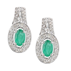 18ct White Gold Emerald and Diamond Oval Drop Earrings