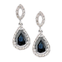 Load image into Gallery viewer, 18ct White Gold Sapphire and Diamond Oval Dangle Earrings