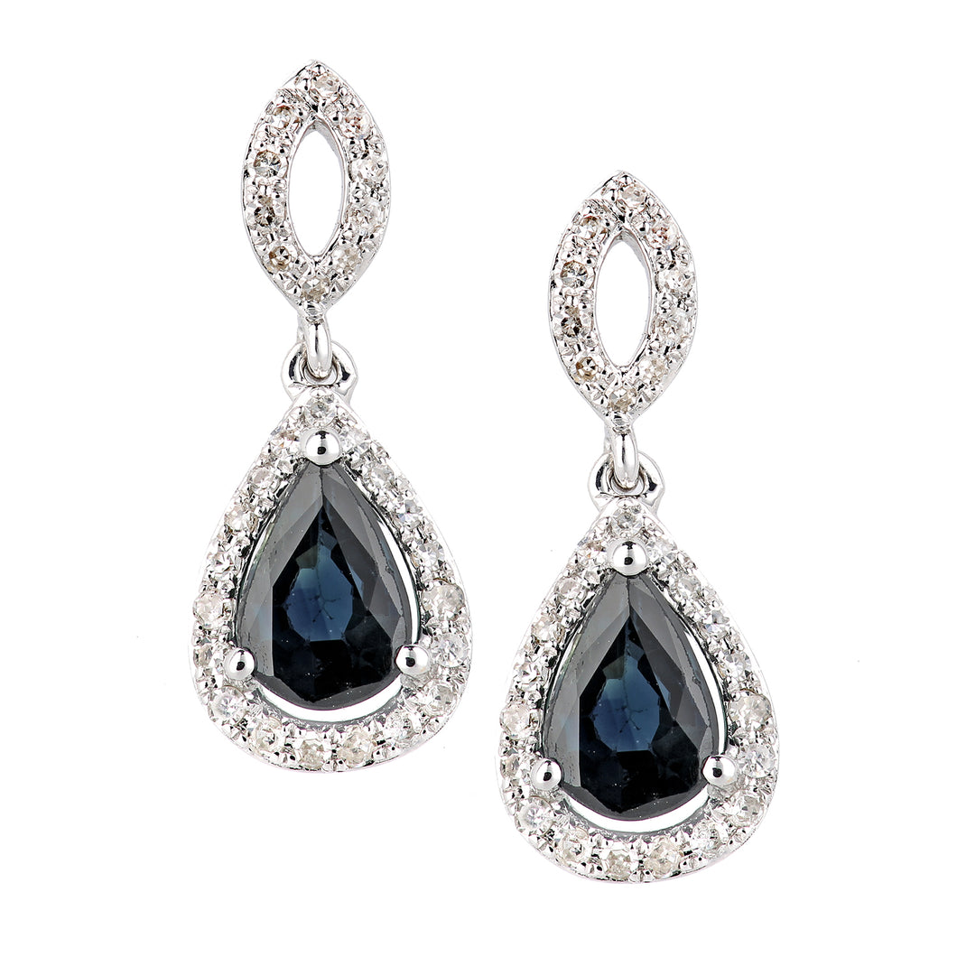 18ct White Gold Sapphire and Diamond Oval Dangle Earrings