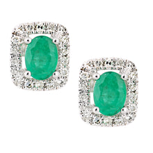 Load image into Gallery viewer, 9ct White Gold Emerald and Diamond Oval Gemstone Stud Earrings